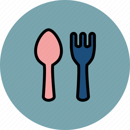 and, baby, cute, cutlery, fork, small, spoon icon