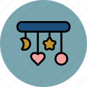 baby, circle, crib, heart, moon, star, toys icon