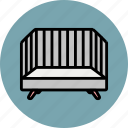 baby, bed, crib, grey, sleep icon