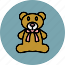 animal, bear, bow, cute, teddy, toy icon