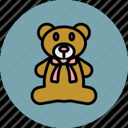 animal, bear, bow, cute, teddy, toy icon