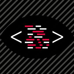 back, code, development, end, eye, search, web icon