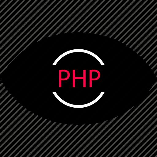 back, development, end, eye, look, php, web icon