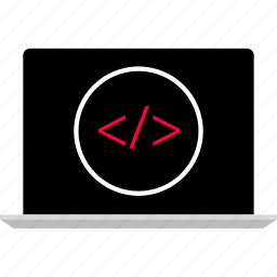 back, code, development, end, laptop, script, web icon