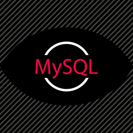back, development, end, eye, look, mysql, web icon