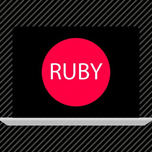 back, development, end, laptop, ruby, web icon
