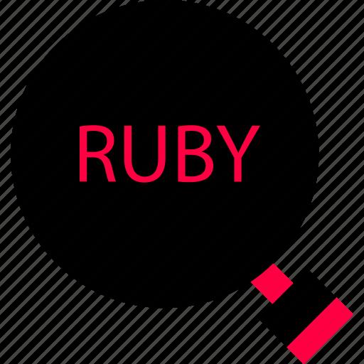 back, development, end, find, ruby, search, web icon