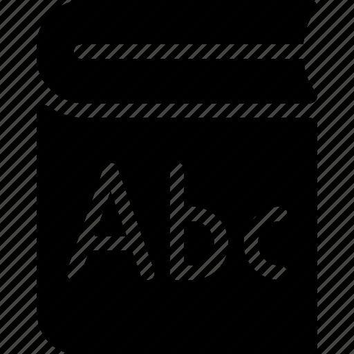 alphabet, book, education, school, study icon