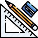 drawing, measure, pencil, ruler, tool icon