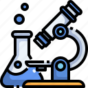 biology, microscope, observation, science, testing icon