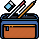 pencil, tool, case, education, office icon