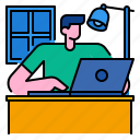 education, home, homework, laptop, learning, schooling icon
