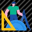 school, education, mat, mathematics, geometry, equipment icon