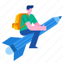 creative, knowledge, learning, pencil, rocket, school