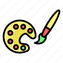 brush, color, drawing, pallete icon