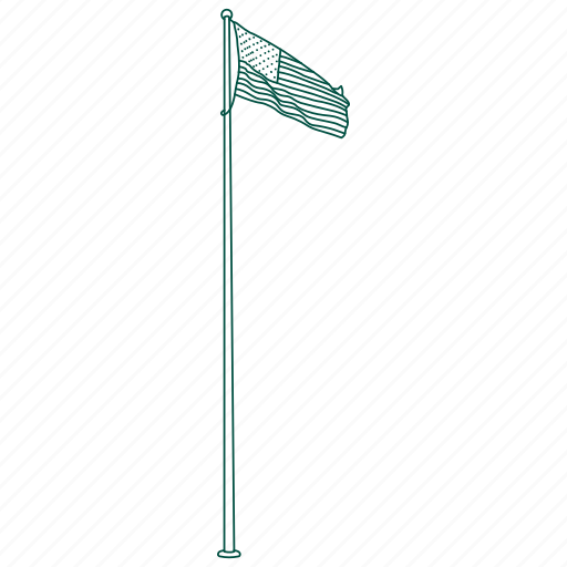 american, flag, pole, school, stars, stripes icon