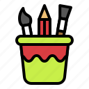 drawing, paintbrush, pencil, stationery, tool icon