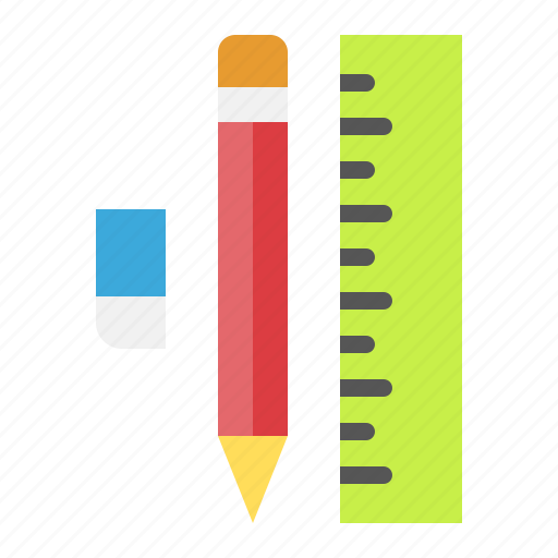 eraser, pencil, ruler, school, stationery icon