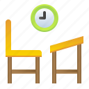 chair, classroom, desk, furniture, school icon