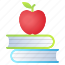 apple, book, knowledge, school icon