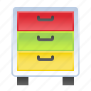 document, drawer, school, storage icon