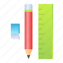 eraser, pencil, ruler, school, stationery icon