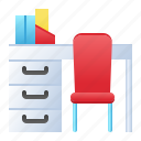 chair, desk, furniture, office, school, workspace icon