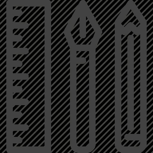 pen, pencil, ruler, school, stationery icon