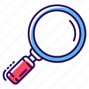 investigation, loupe, magnifier, monitoring, research, search icon