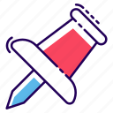 paper pin, pin, pushpin, soft board pin, thumb pin icon