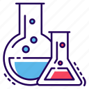 acids, chemical flasks, chemicals, chemistry, lab practical, lab testing icon