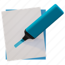 blue hightligher, evidenziatore, hightligher, marker icon