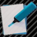 blue hightligher, evidenziatore, hightligher, marker icon