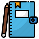 diary, journal, notebook, pen, pencil, school icon