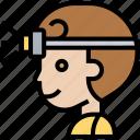 headlamp, outdoor, light, nighttime, exploration icon
