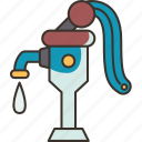 pump, water, hand, tap, rural