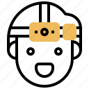 battery, camping, flashlight, headlamp, night icon