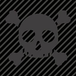 crossbones, danger, death, poison, skeleton, skull, toxic icon