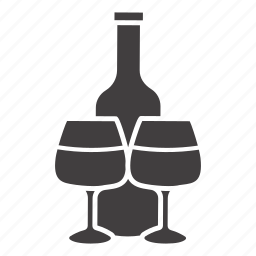 alcohol, bar, beverage, bottle, drink, wine, wineglass icon