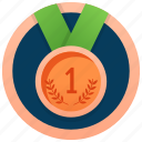 bronze medal, medal achievement, gold medal, one symbol medal, numbering medal icon