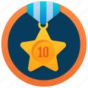 medal, star pendant, gold medal, star medal, one star icon