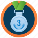 bronze medal, medal achievement, three symbol medal, gold medal, numbering medal icon