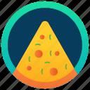 edible, fast food, food badge, pizza slice badge, savoury dish, snack icon