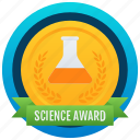 achievement, marker, token, stamp, medallion, reward, science badge icon