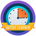 achievement, marker, active learner, badge, educational badge, medallion, reward icon