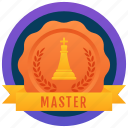achievement, marker, token, master badge, stamp, medallion, reward icon
