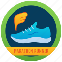 achievement, marker, badge, shoes banner, medallion, reward, sports badge icon