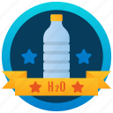 bottle badge, achievement, marker, stamp, hydration badge, medallion, reward icon