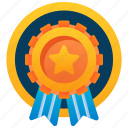 ribbon badge, performance badge, badge, star badge, achievement badge, fabric badge icon