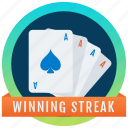 achievement, marker, token, poker reward, stamp, medallion, winning streak badge icon